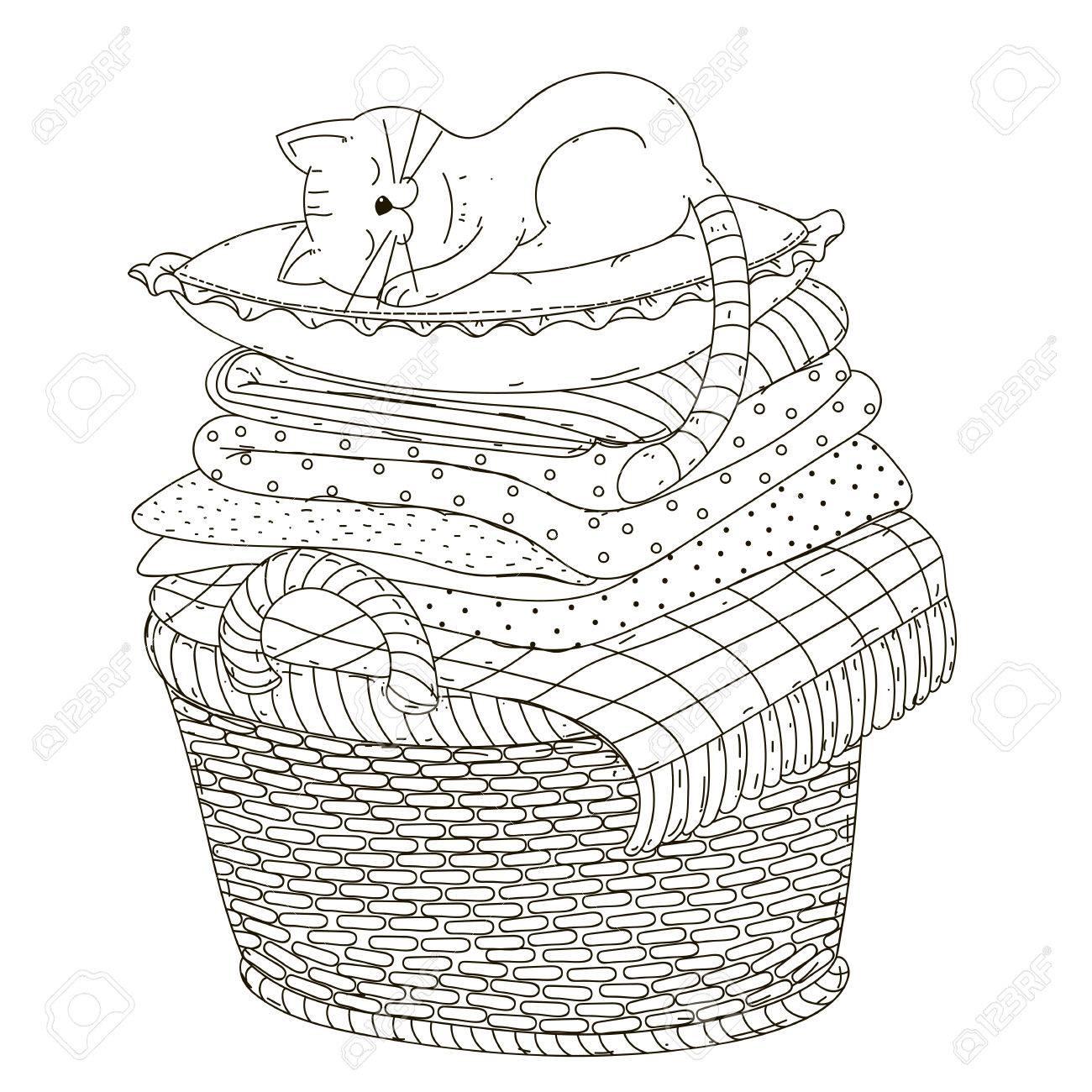Die Katze Schläft Auf Einem Kissen Bettwäsche Korb Lizenzfrei