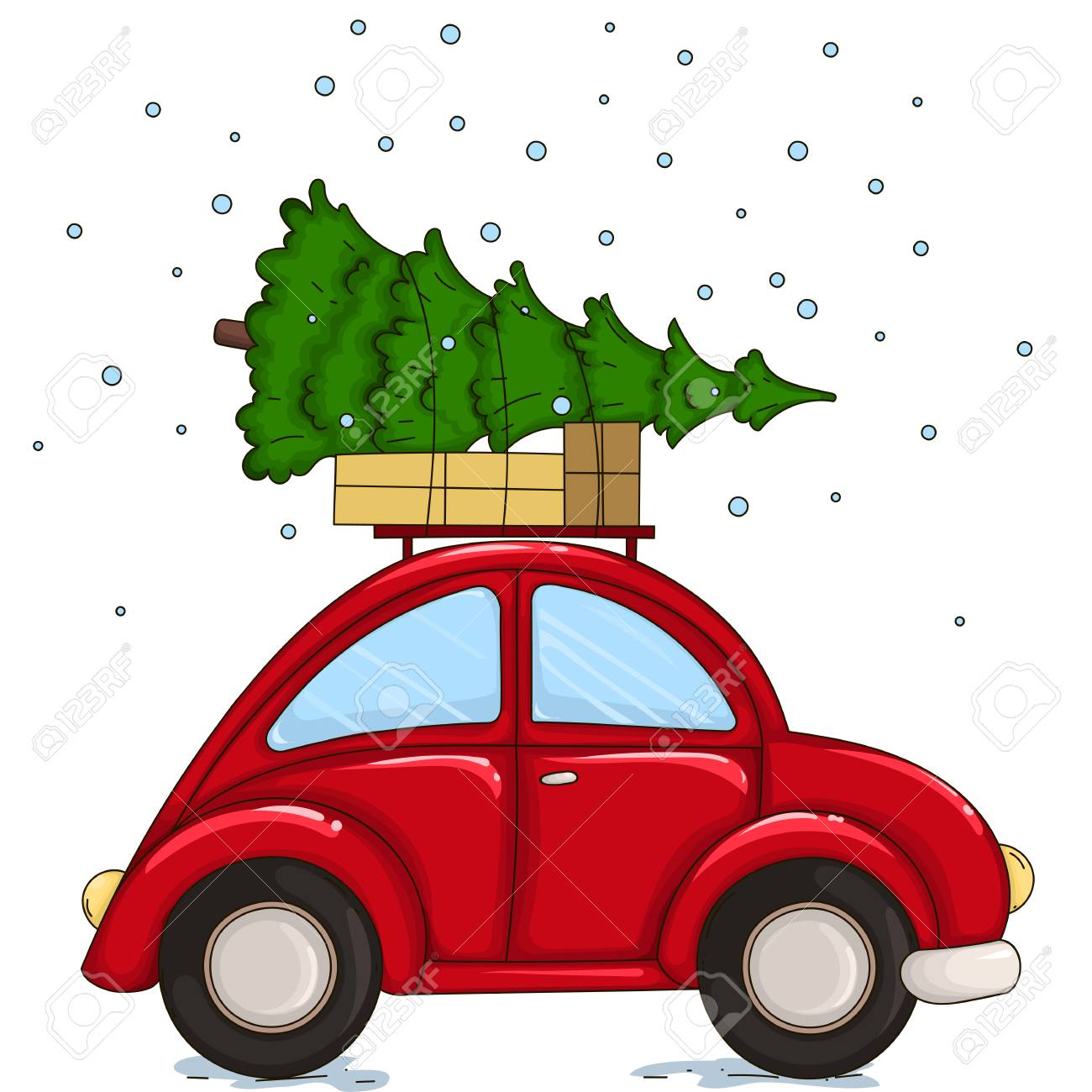 Red Car Driven By A Christmas Tree And Presents