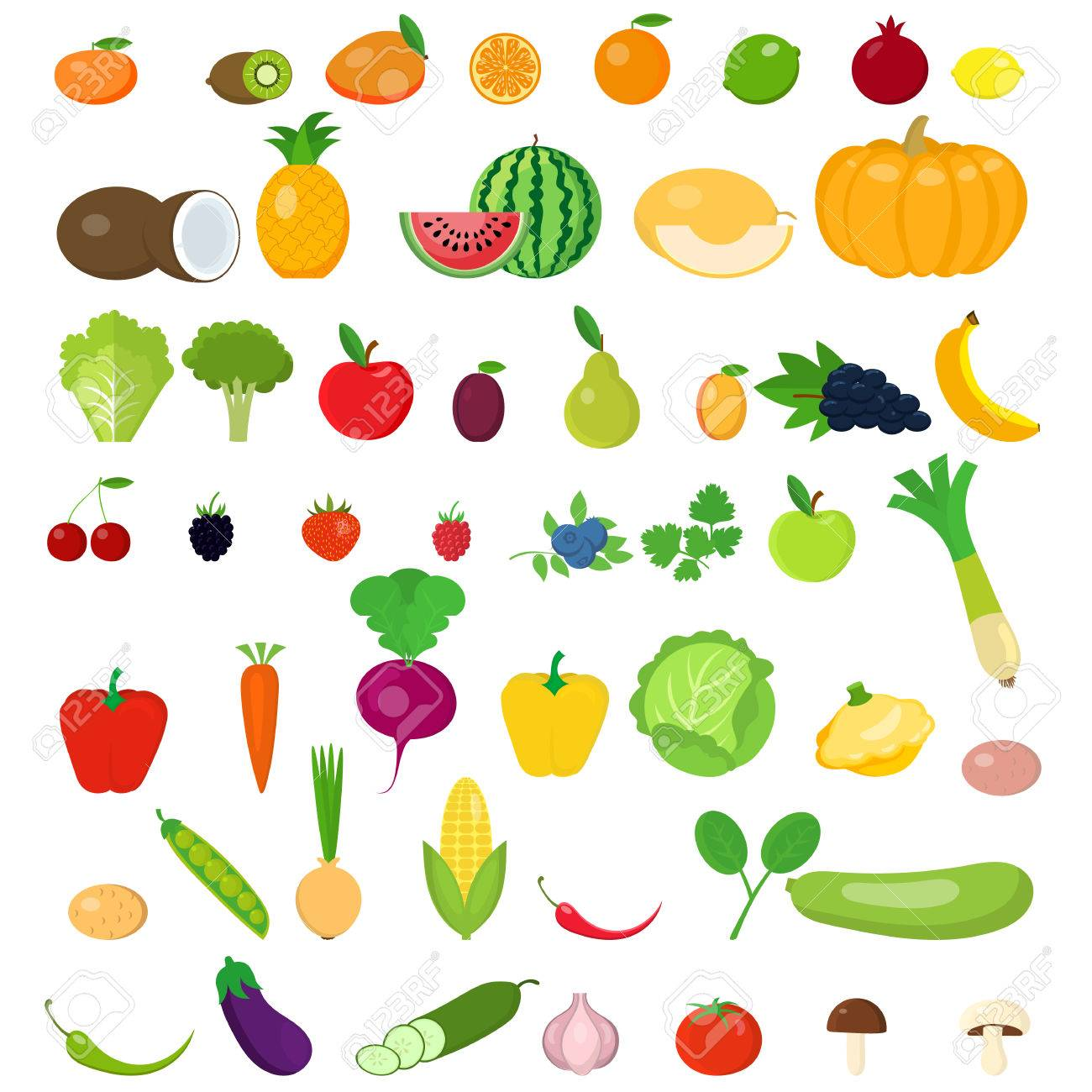 A set of fruits and vegetables. - 81073647