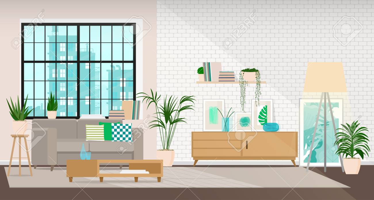 Modern interior design of a living room or office space in an industrial style. - 94519118