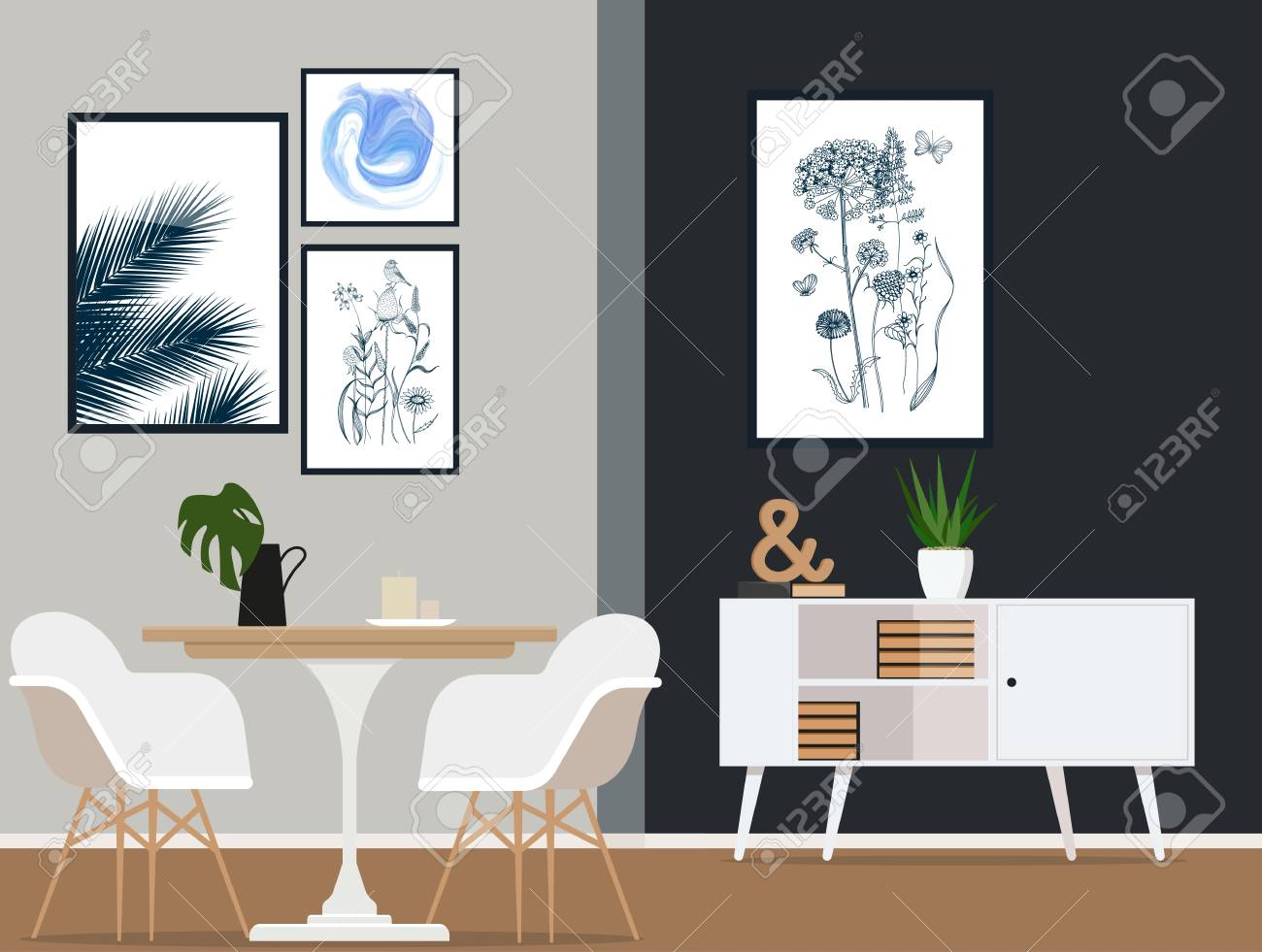 Diseño interior de una habitación de comedor moderno con muebles de moda  retro. ilustración vectorial .