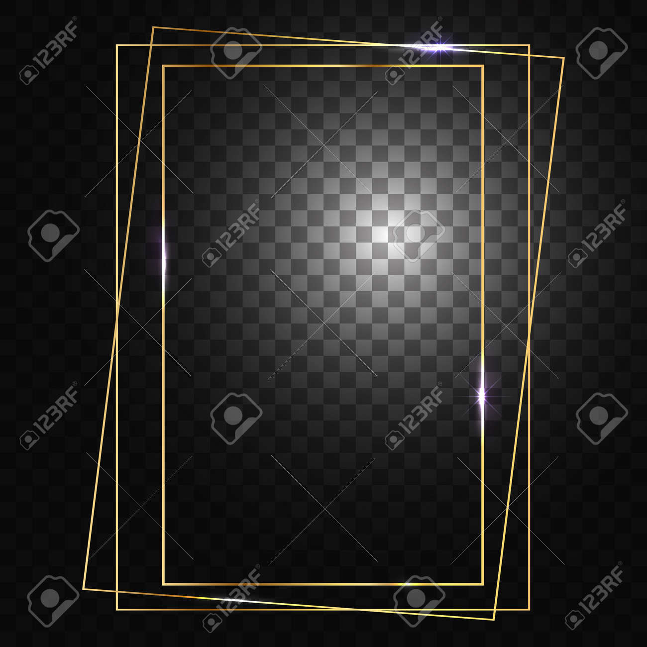 Gold frame. Square frame for designs and photos. Glowing sparkles and stars on the frames. Isolated, transparent background. - 162529865