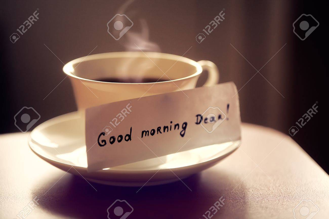 White Ceramic Cup Of Tea Or Coffee With Nice Letter Good Morning