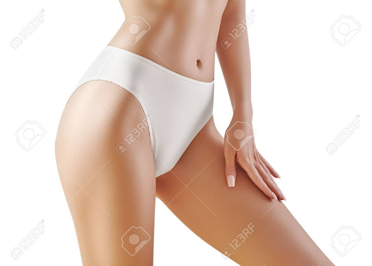 Healthy Slim Body In White Panties Beautiful Sexy Hips With Clean