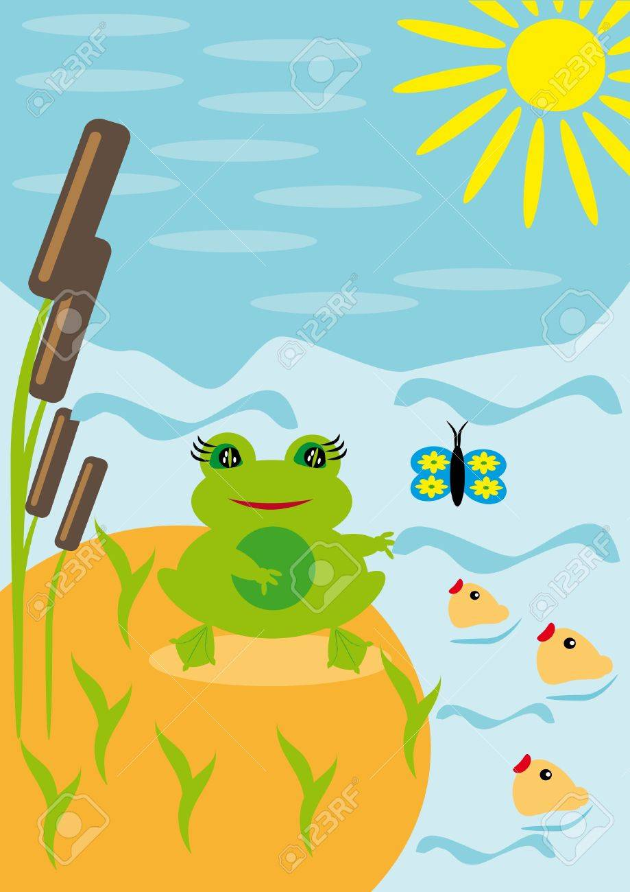 Frog under the sun on a pond. Illustration Stock Vector - 10890250