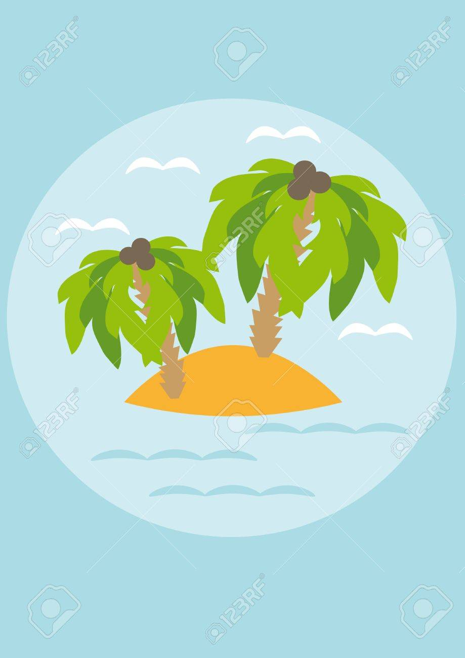 Island with palm trees in the sea. Illustration Stock Vector - 10890153