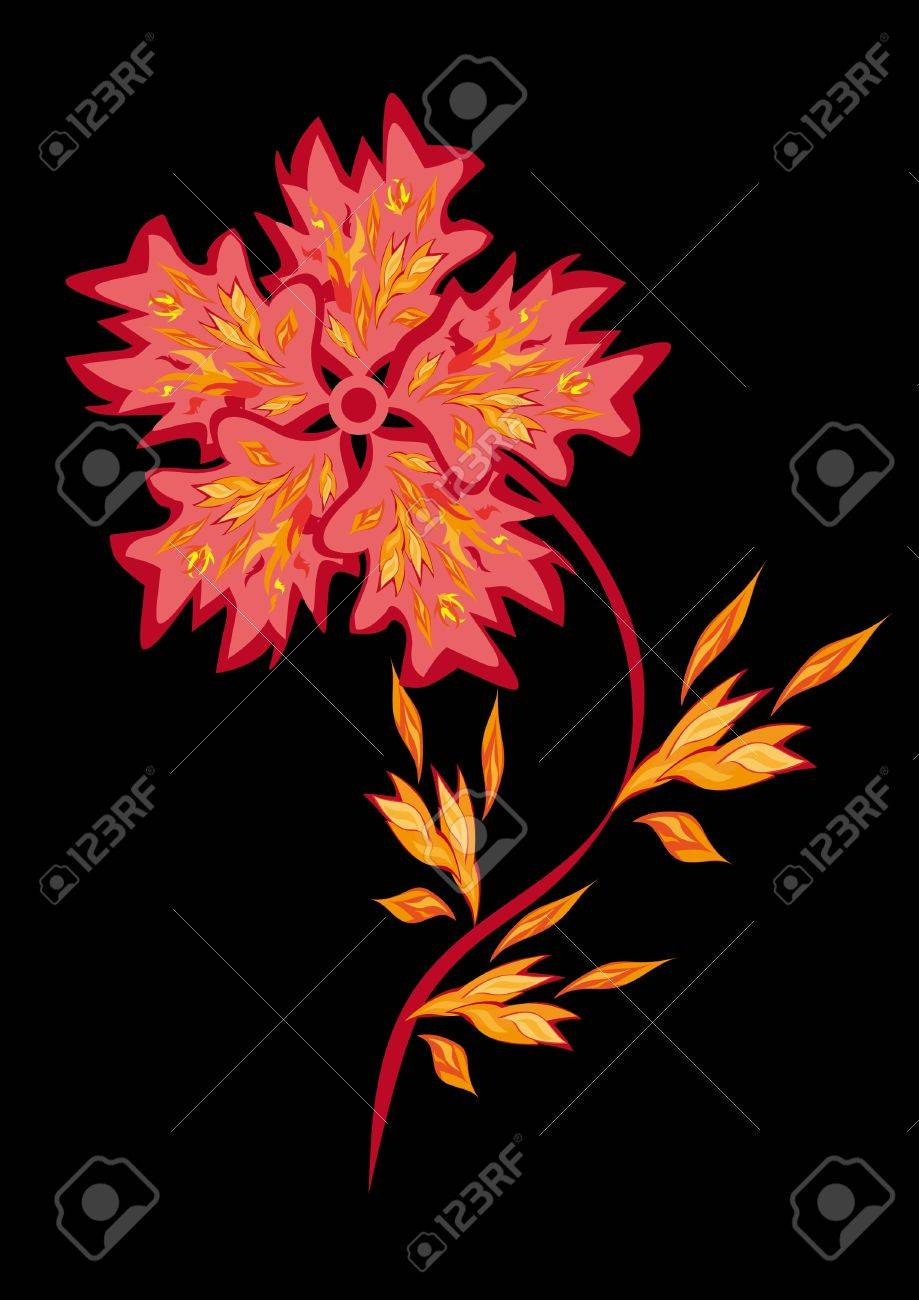 Gold fire flower on isolated background.. Illustration. Stock Vector - 10891514