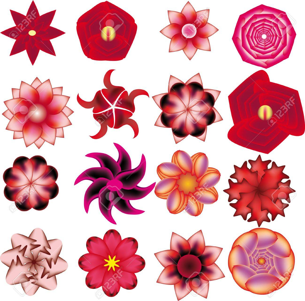 illustration with set with flowers Stock Vector - 10891874