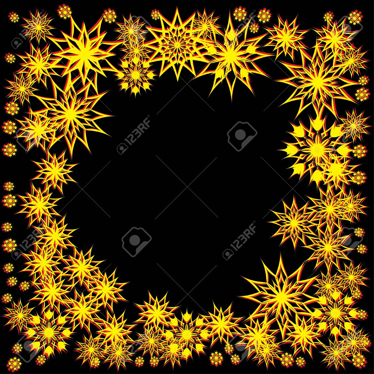 floral winter frame with snowflakes. illustration. Stock Vector - 11099387