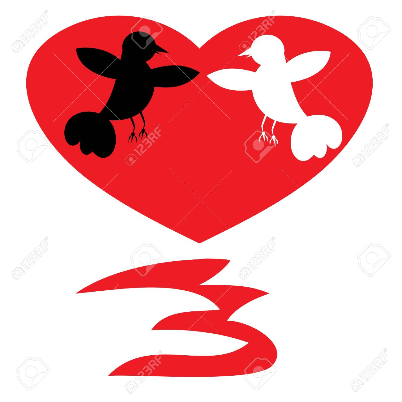 Silhouettes of two enamoured birds. Stock Vector - 11102167