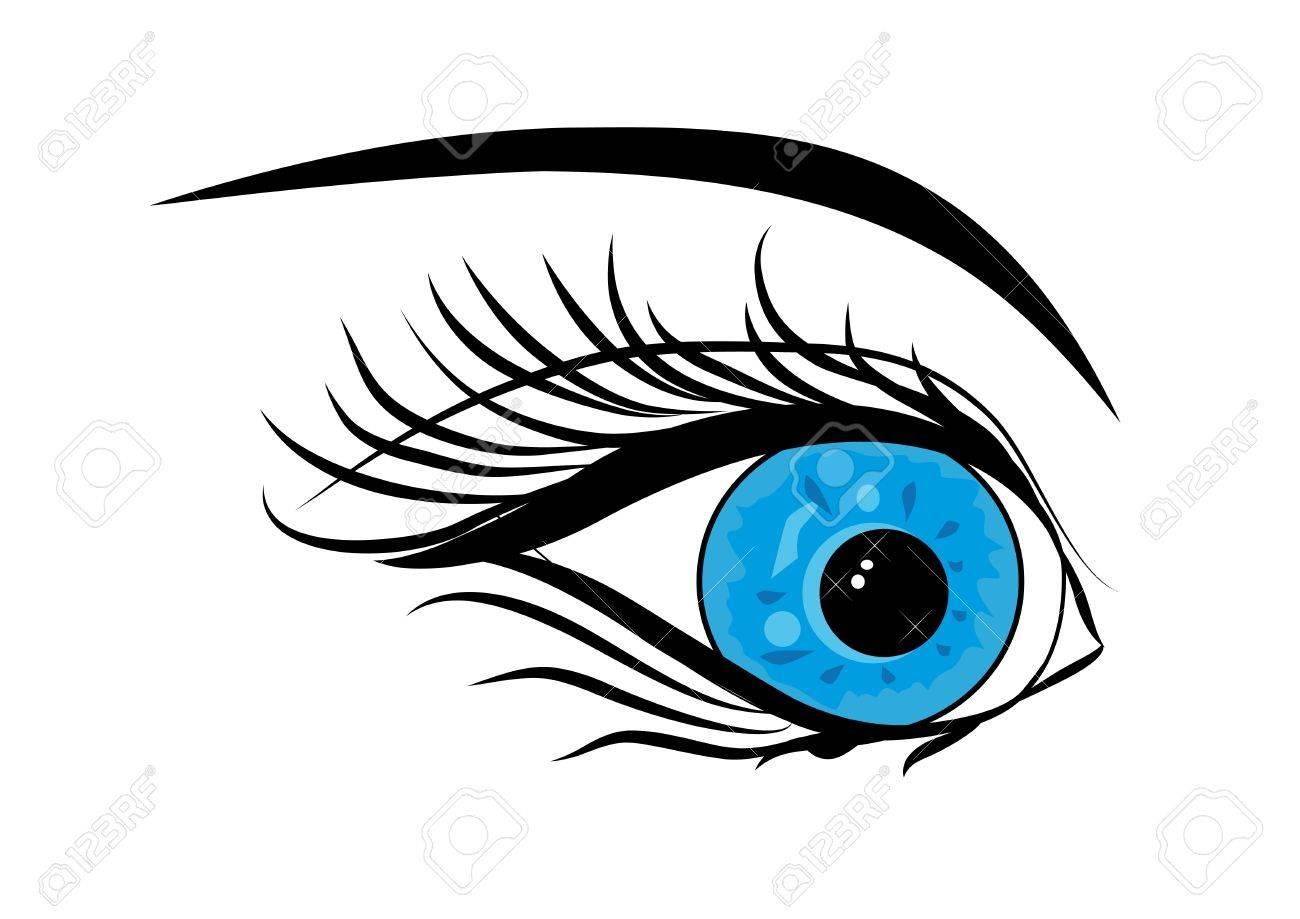 雌性青い綺麗な目ベクトル イラストのイラスト素材ベクタ Image