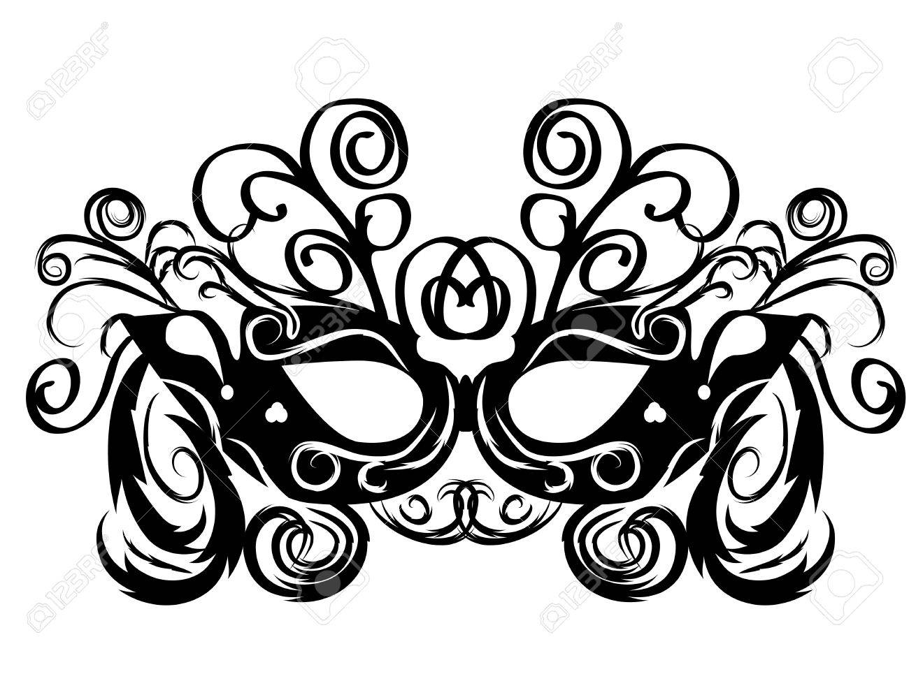 black vector carnival masks. abctract isolated illustration Stock Vector - 12436460