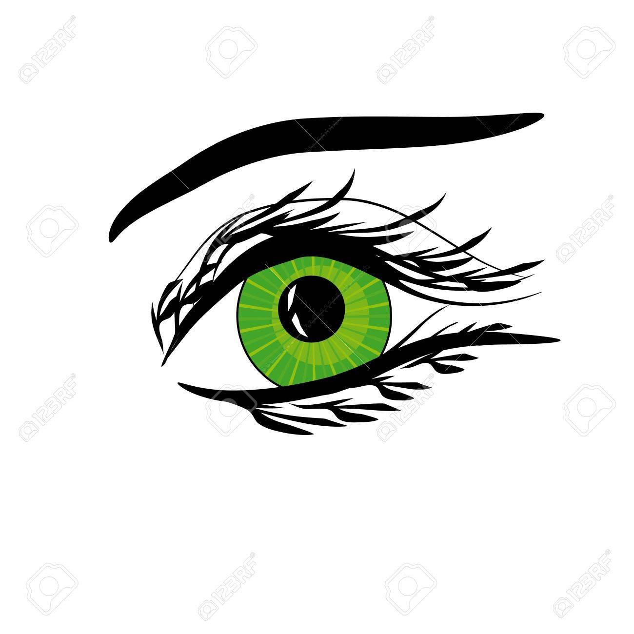Beautiful female green eye.Vector illustration Stock Vector - 12436469