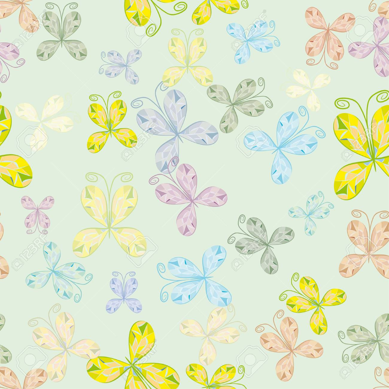 seamless pattern with colorful butterflies. Illustration Stock Vector - 12945727