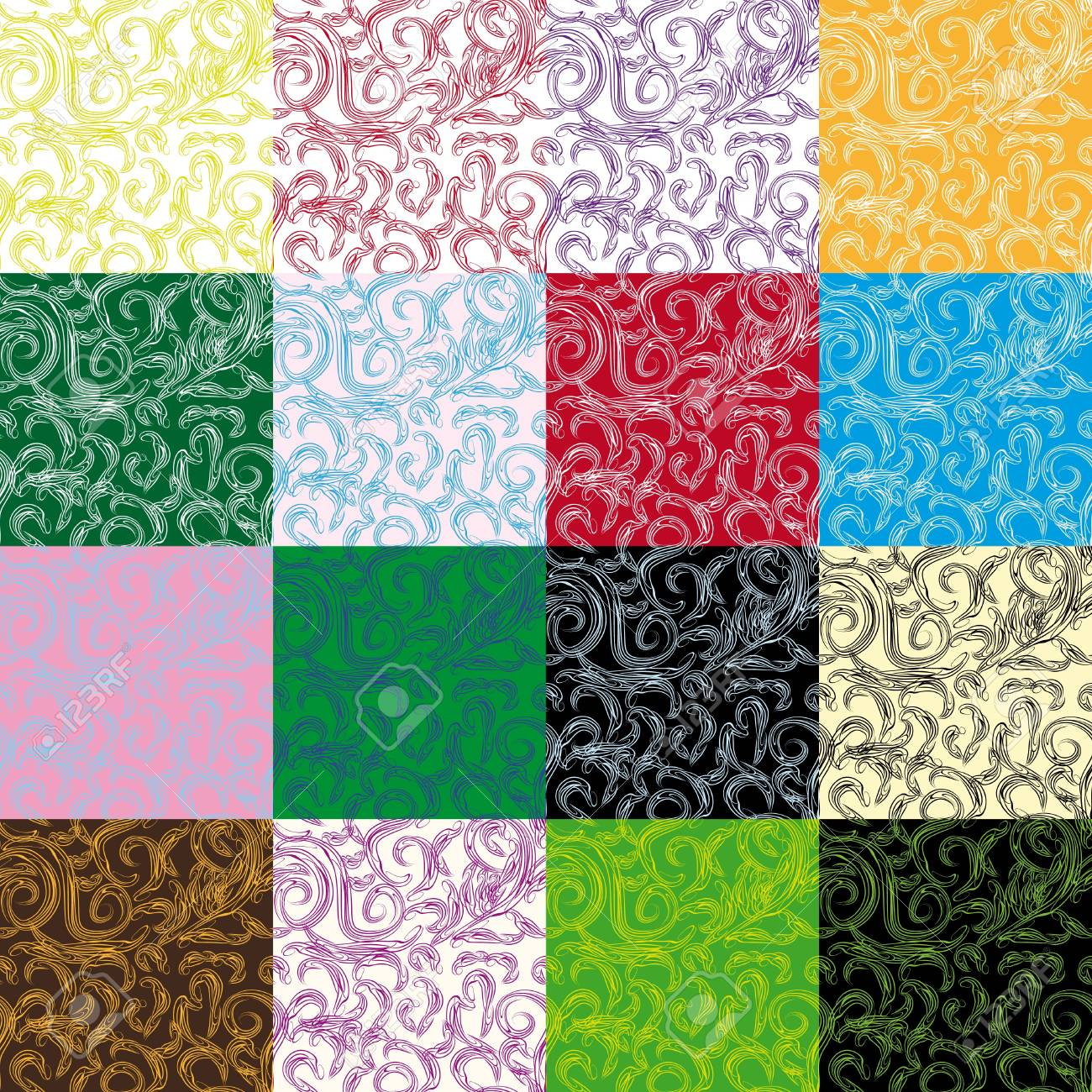 set of abstract colorfull seamless pattern with curling branches. Vector illustration Stock Vector - 13125796