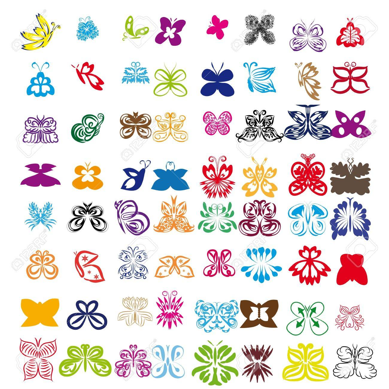 set of butterflies on isolated background Stock Vector - 17752555