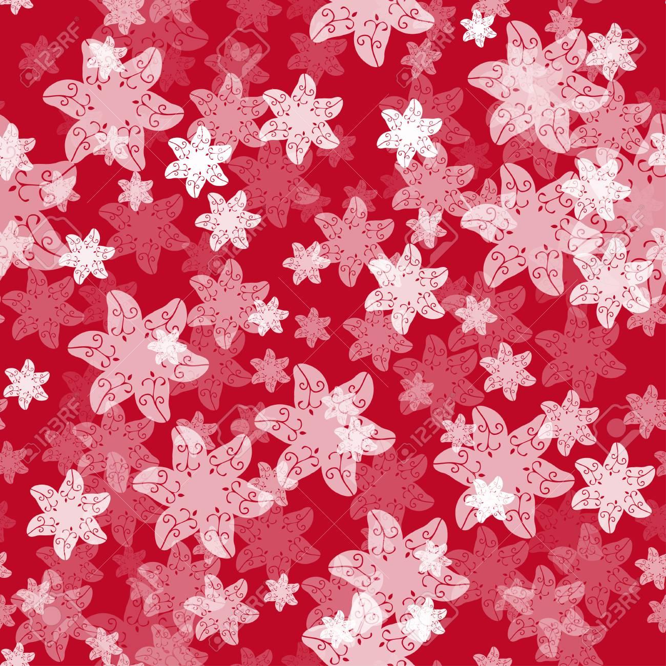 Sfondo rosso con fiori bianchi