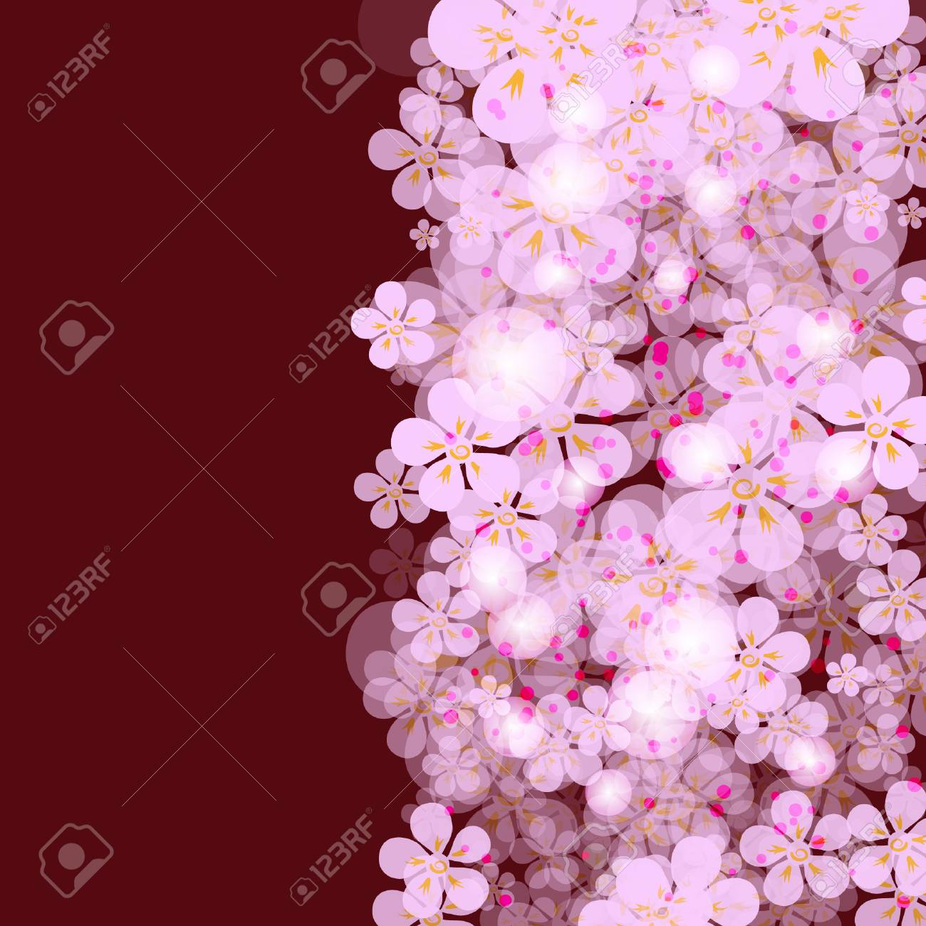 Purple Framework With Gentle Flowers Royalty Free Cliparts, Vectors ...