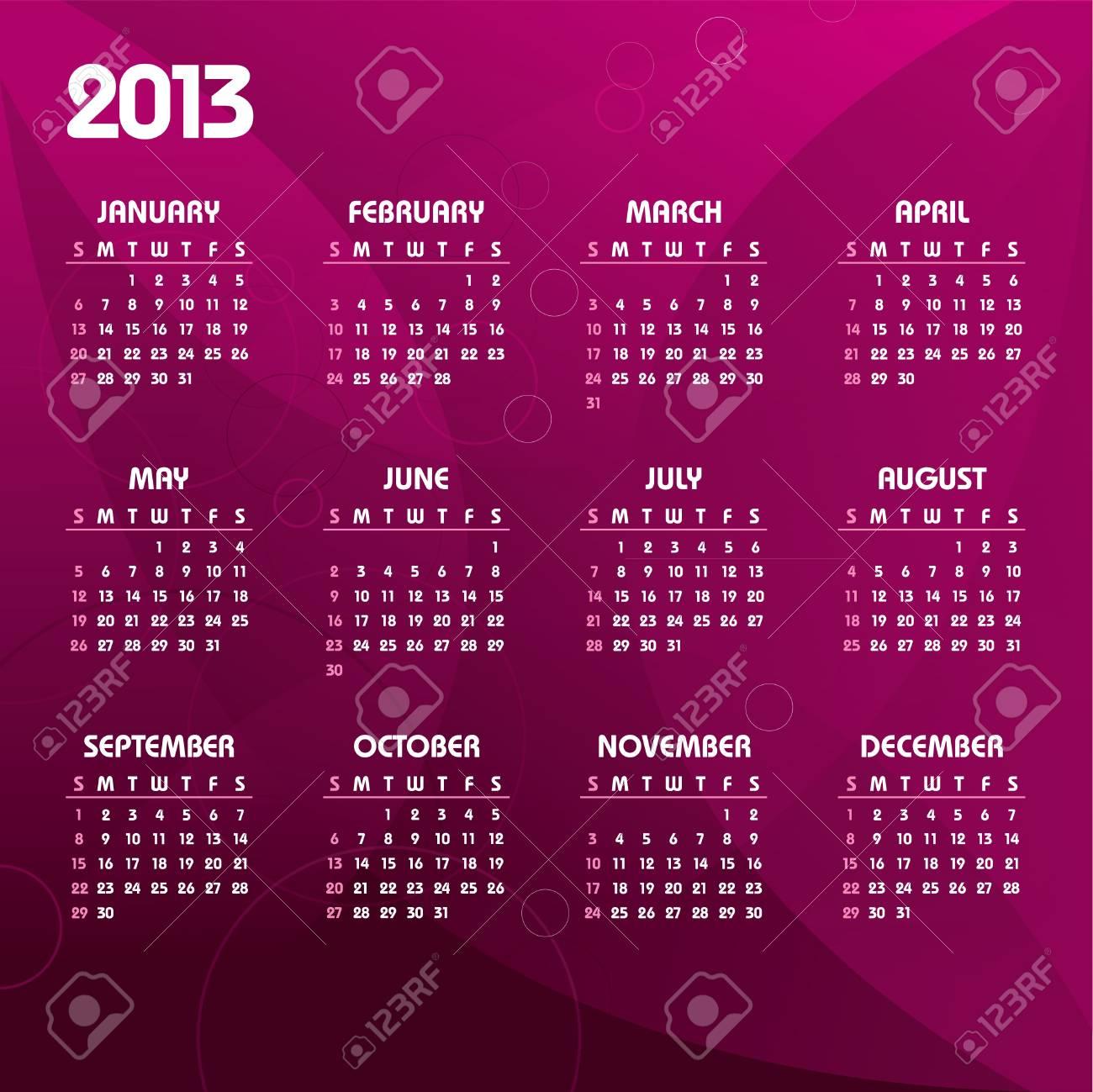 2013 Calendar Stock Vector - 14584591