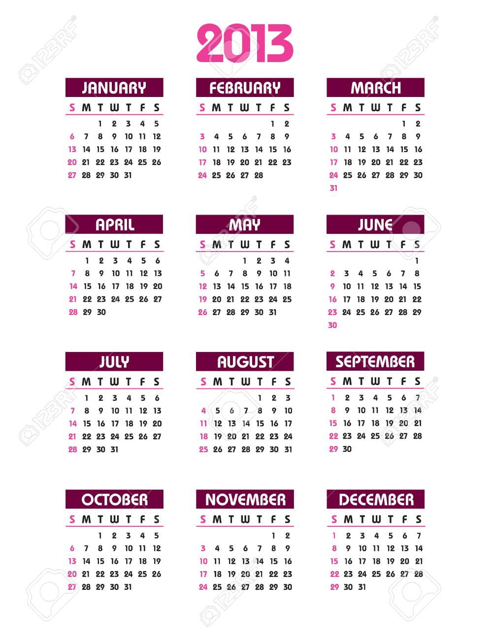 2013 Calendar Stock Vector - 14633780