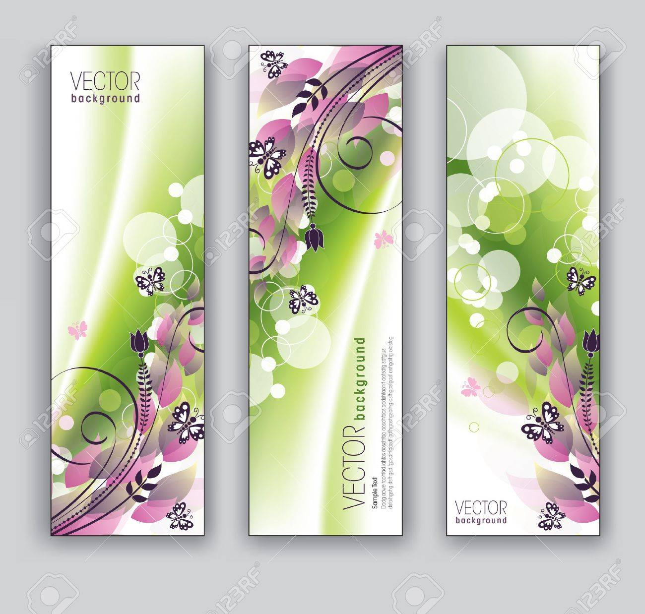 Banners  Abstract Backgrounds  Floral Theme Stock Vector - 17998307