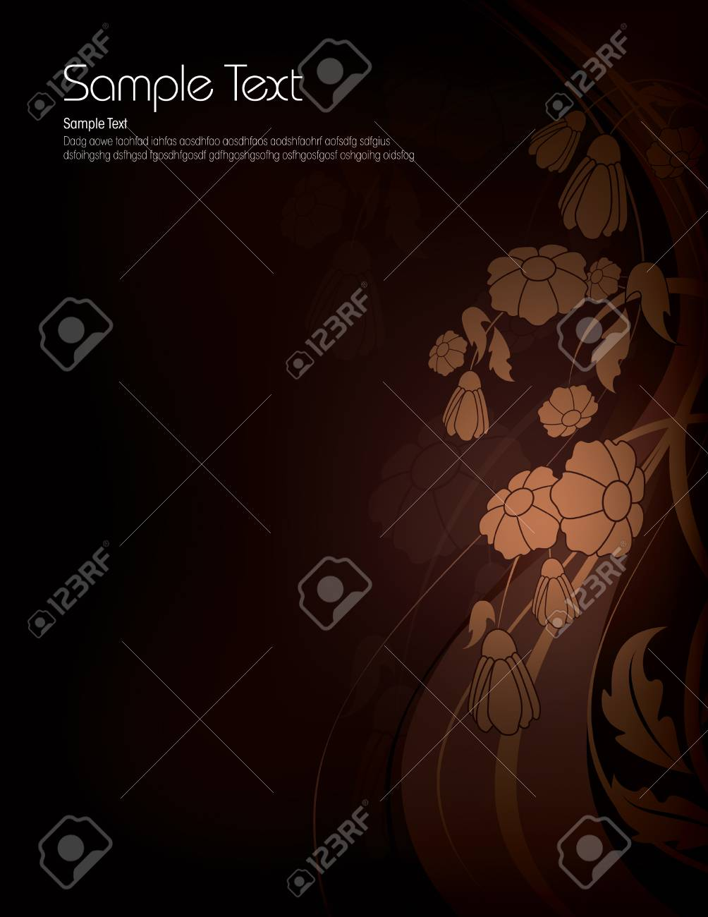 Dark Floral Background With Shiny Brown Flowers Royalty Free