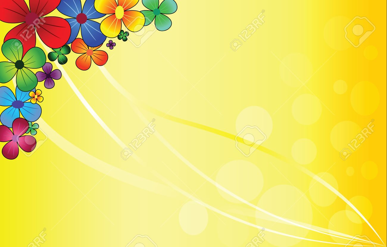 multi-colored beautiful flowers on a yellow background Stock Vector - 13758961