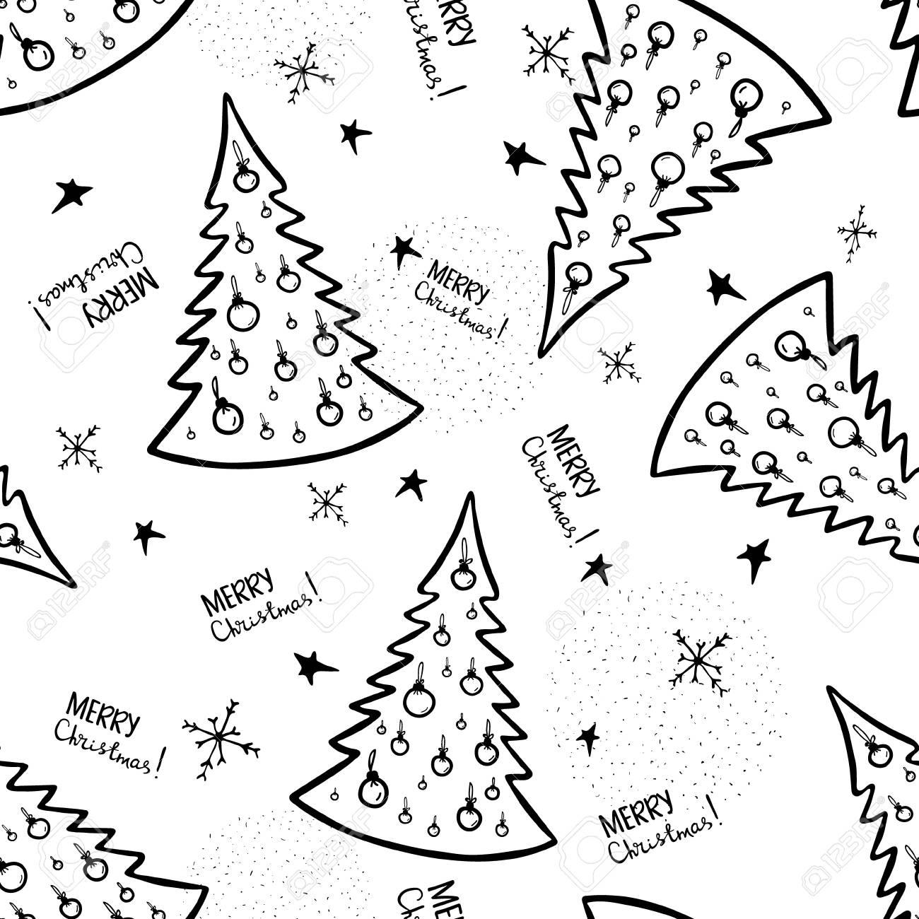 Dibujos De Arboles De Navidad Pintados.Arboles De Navidad Ilustracion Para Un Papel De Embalaje Papel Pintado Dibujo En Blanco Y Negro Fondo Blanco Patron De Vector Transparente