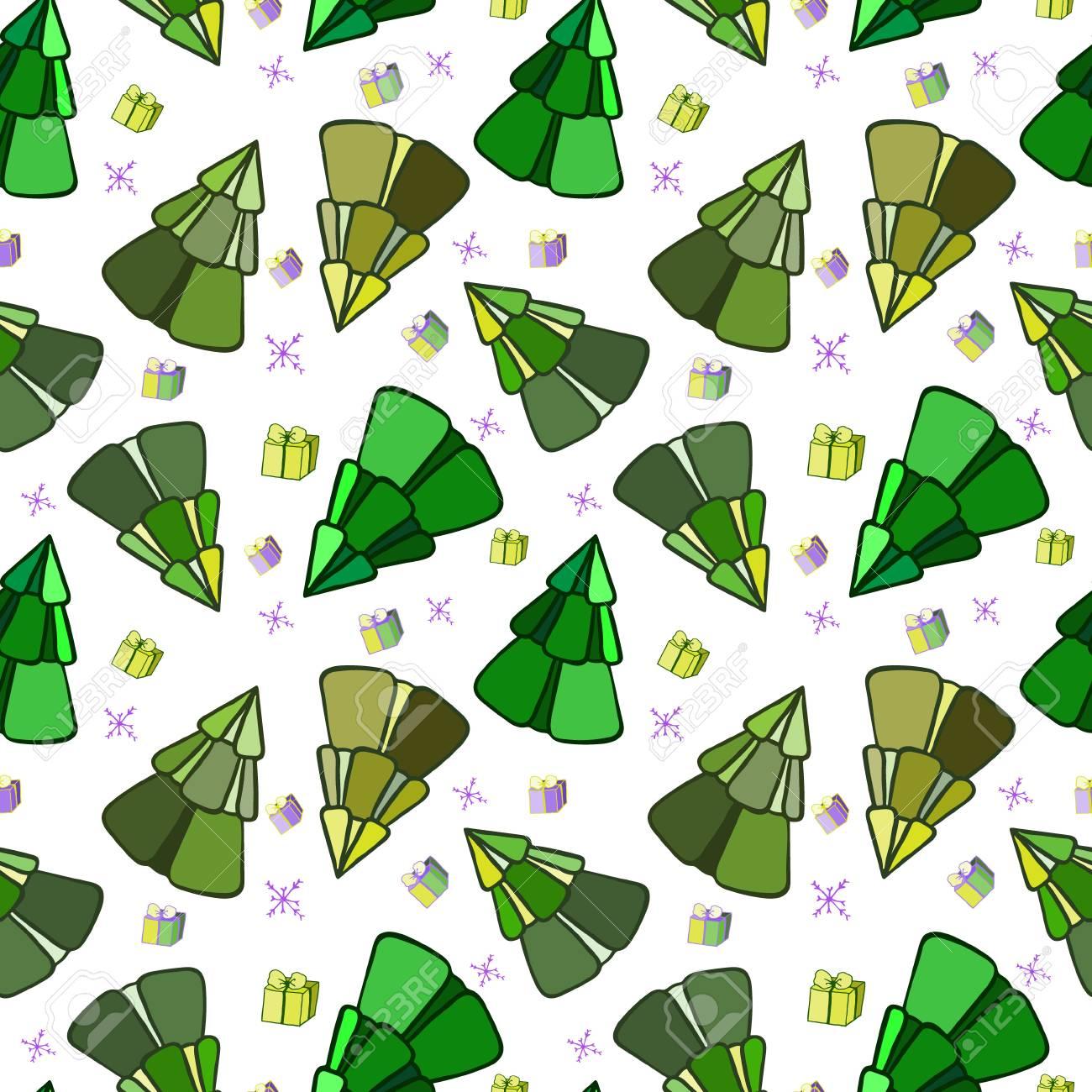 Arbres De Noel Vert Illustration Pour Un Papier D Emballage Papier
