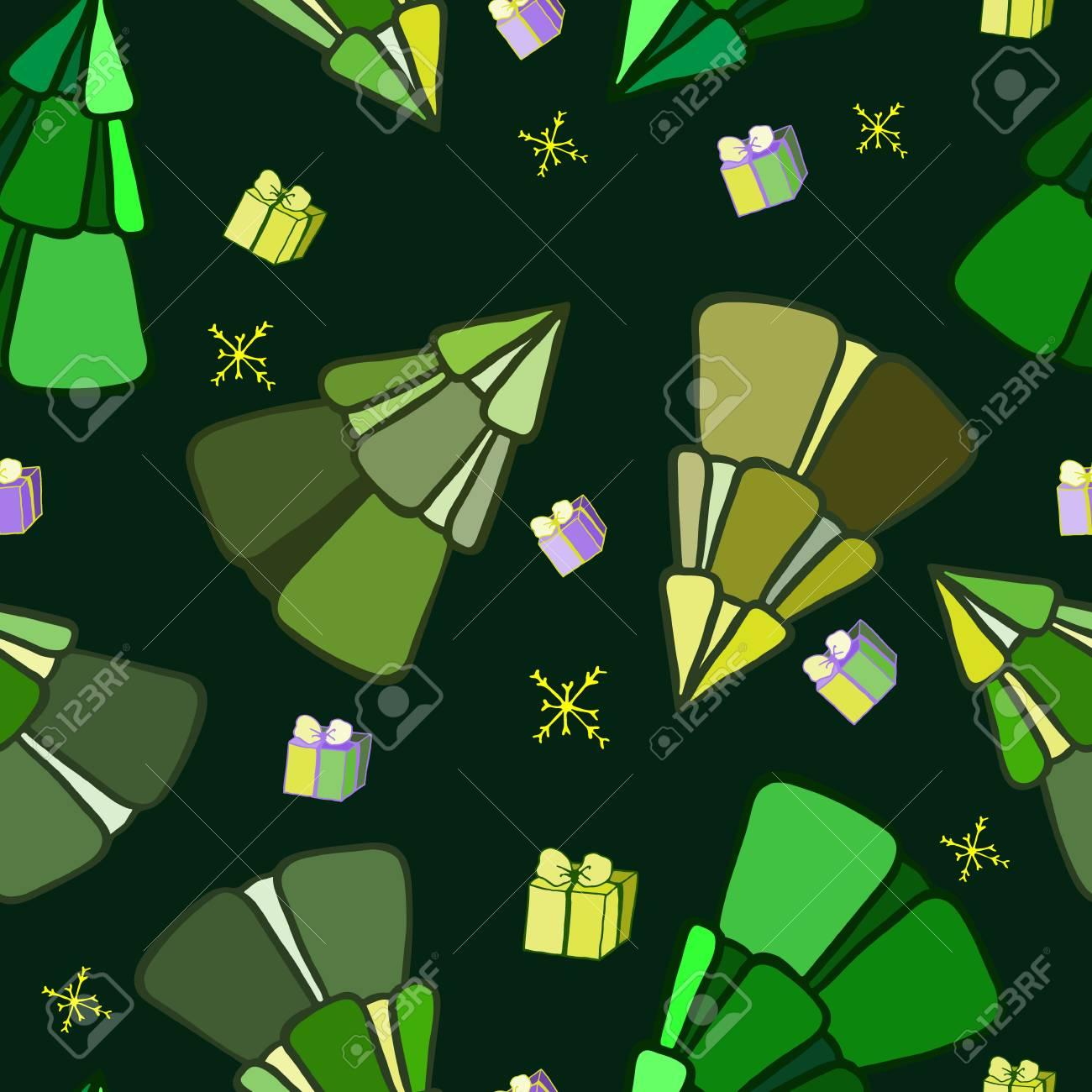 Arbres De Noel Colores Illustration Pour Un Papier D Emballage