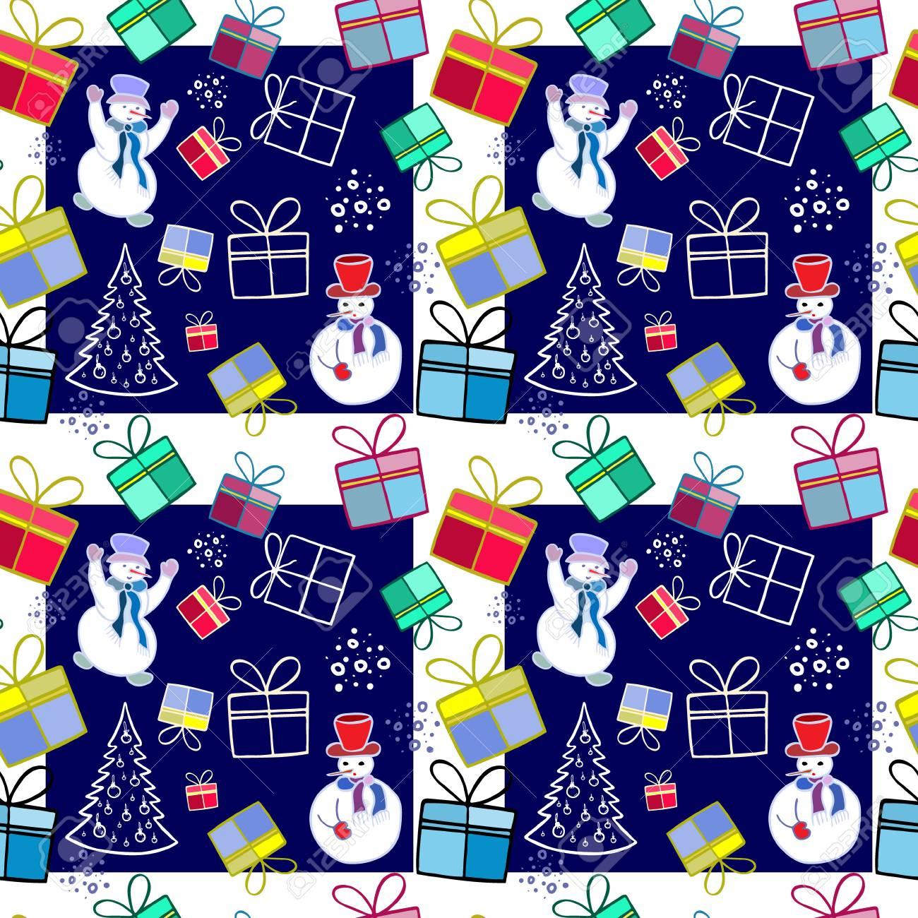 Weihnachten Hintergrund. Schneemann Und Weihnachtsbaum. Illustration ...
