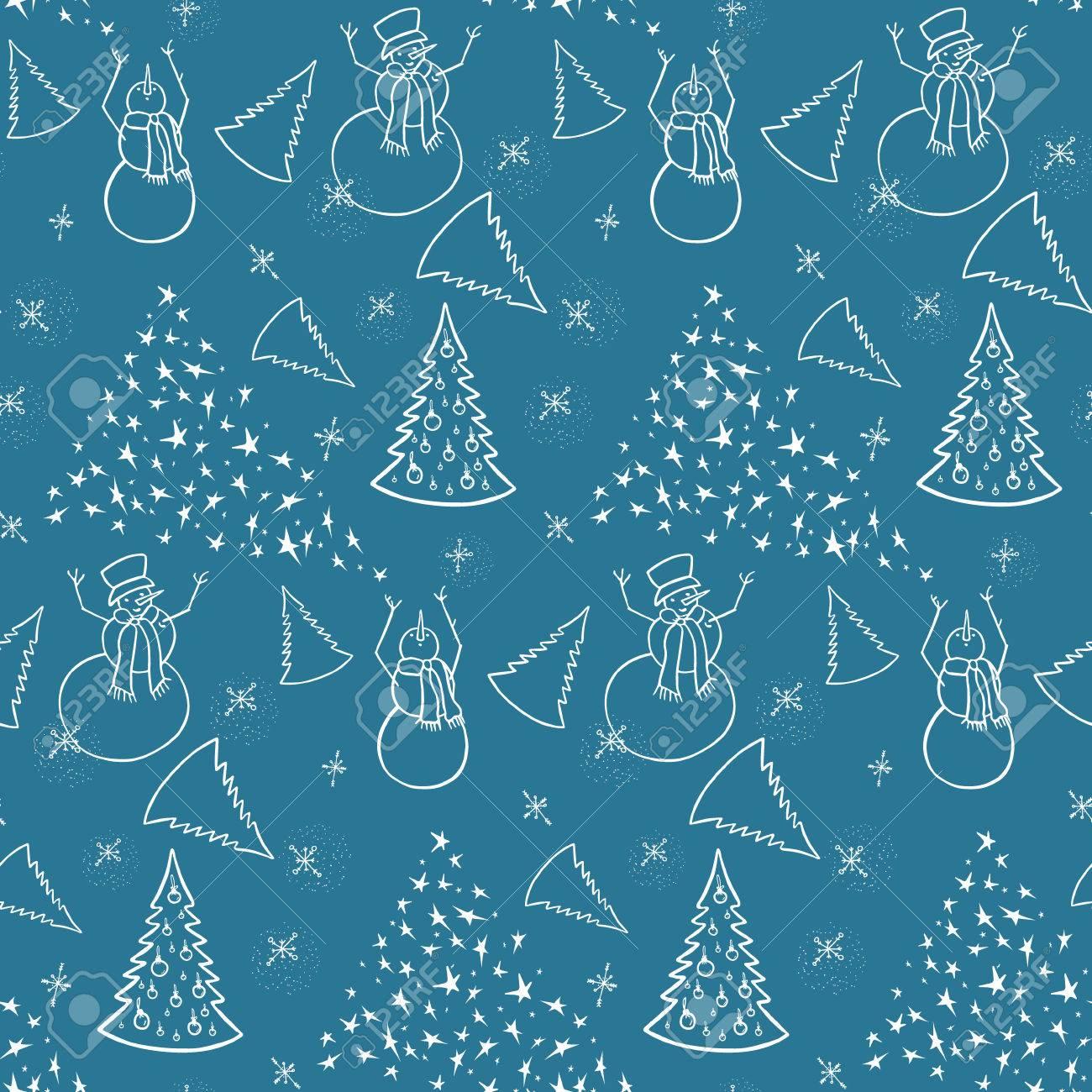クリスマスの背景雪だるまとクリスマス ツリー包装紙壁紙用