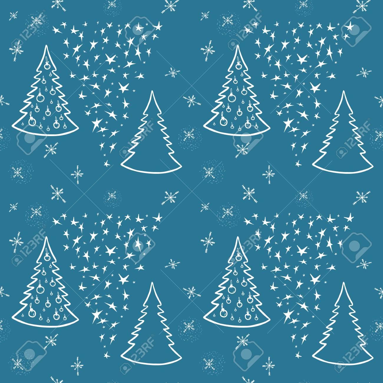 クリスマスの背景 星とクリスマス ツリー 包装紙 壁紙用イラスト 季節の挨拶 手書き書道です シームレス パターン のイラスト素材 ベクタ Image