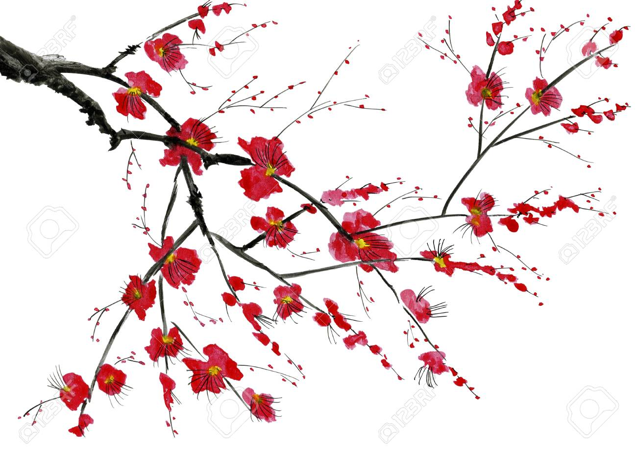 A branch of a blossoming tree. Pink and red stylized flowers of wild mead, wild apricots and sakura. Watercolor and ink illustration in style sumi-e, u-sin. Oriental traditional painting. - 113477255