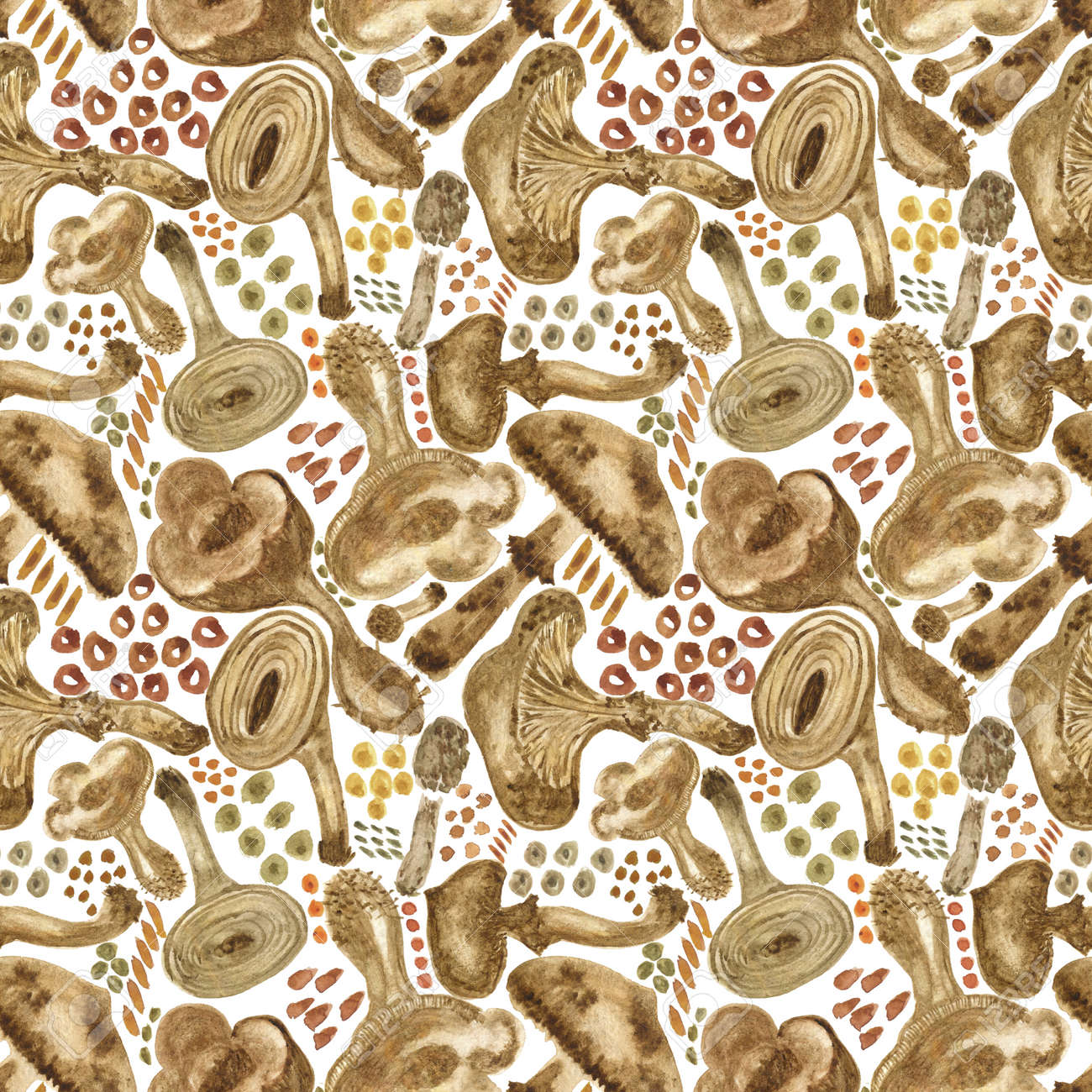 Seamless watercolor background with mushrooms. Pattern for creating fabrics, wallpapers, gift wrapping paper, invitations, textile, scrapbooking. Isolated on white background. - 164949481