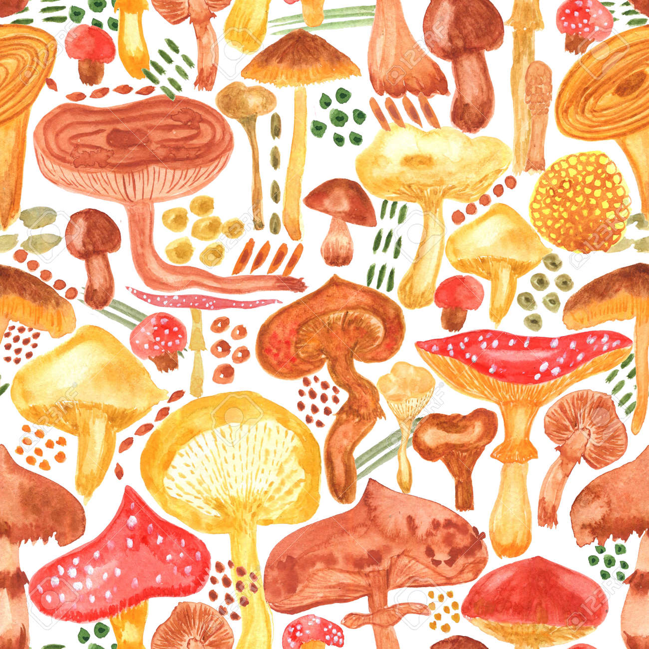 Colorful watercolor mushrooms seamless pattern. Hand Illustration for creating fabrics, wallpapers, gift wrapping paper, invitations, textile, scrapbooking. Isolated on white background. - 164949482
