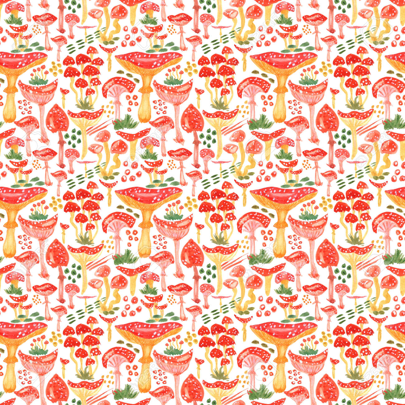 Seamless watercolor background with mushrooms. Pattern for creating fabrics, wallpapers, gift wrapping paper, invitations, textile, scrapbooking. Isolated on white background. - 164949485