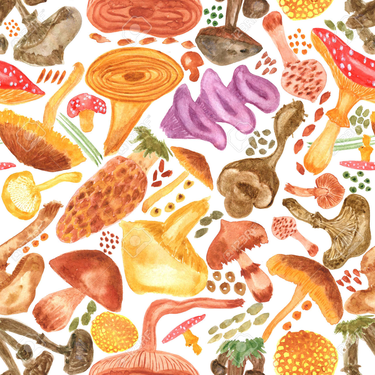 Seamless watercolor background with mushrooms. Pattern for creating fabrics, wallpapers, gift wrapping paper, invitations, textile, scrapbooking. Isolated on white background. - 165387215
