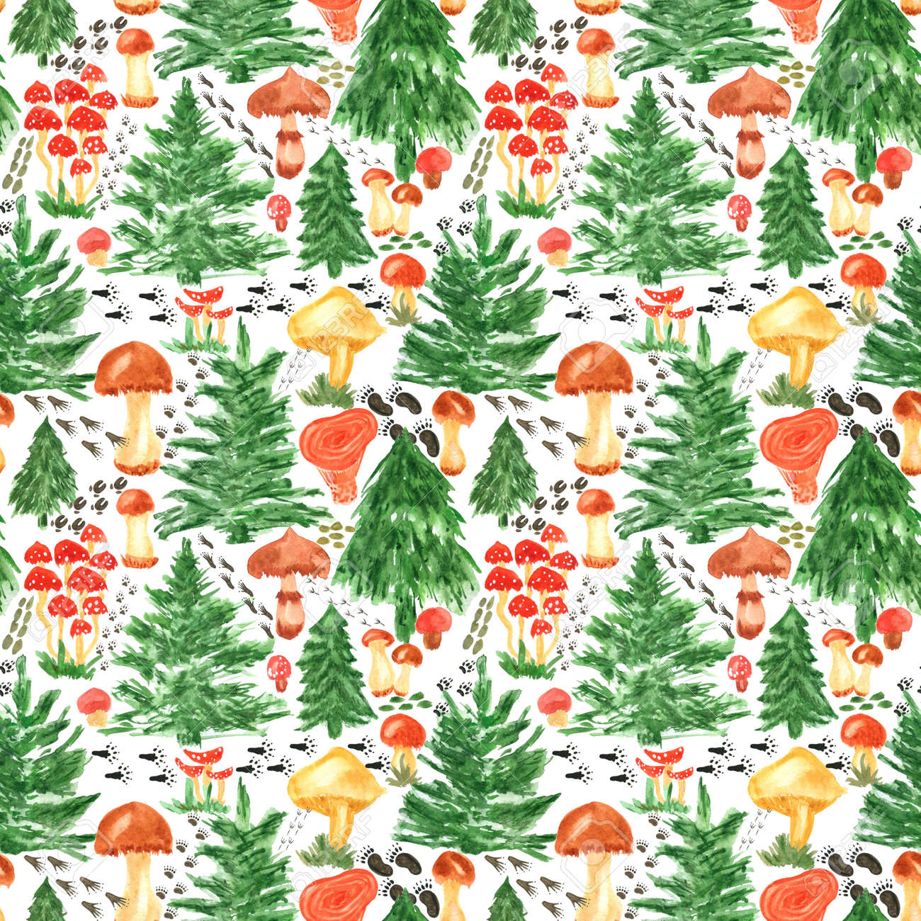 Colorful watercolor trees, animal footprints and mushrooms seamless pattern. Hand Illustration for creating fabrics, wallpapers, gift wrapping paper, invitations, textile, scrapbooking. - 165387218