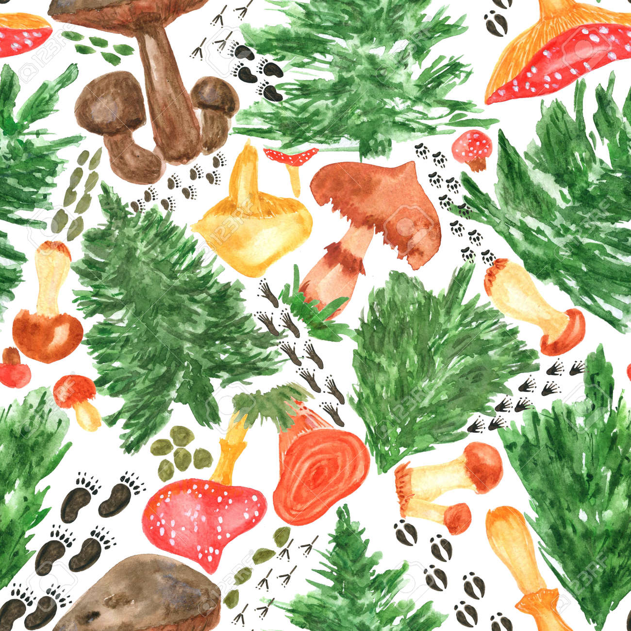 Colorful watercolor trees, animal footprints and mushrooms seamless pattern. Hand Illustration for creating fabrics, wallpapers, gift wrapping paper, invitations, textile, scrapbooking. - 165387219