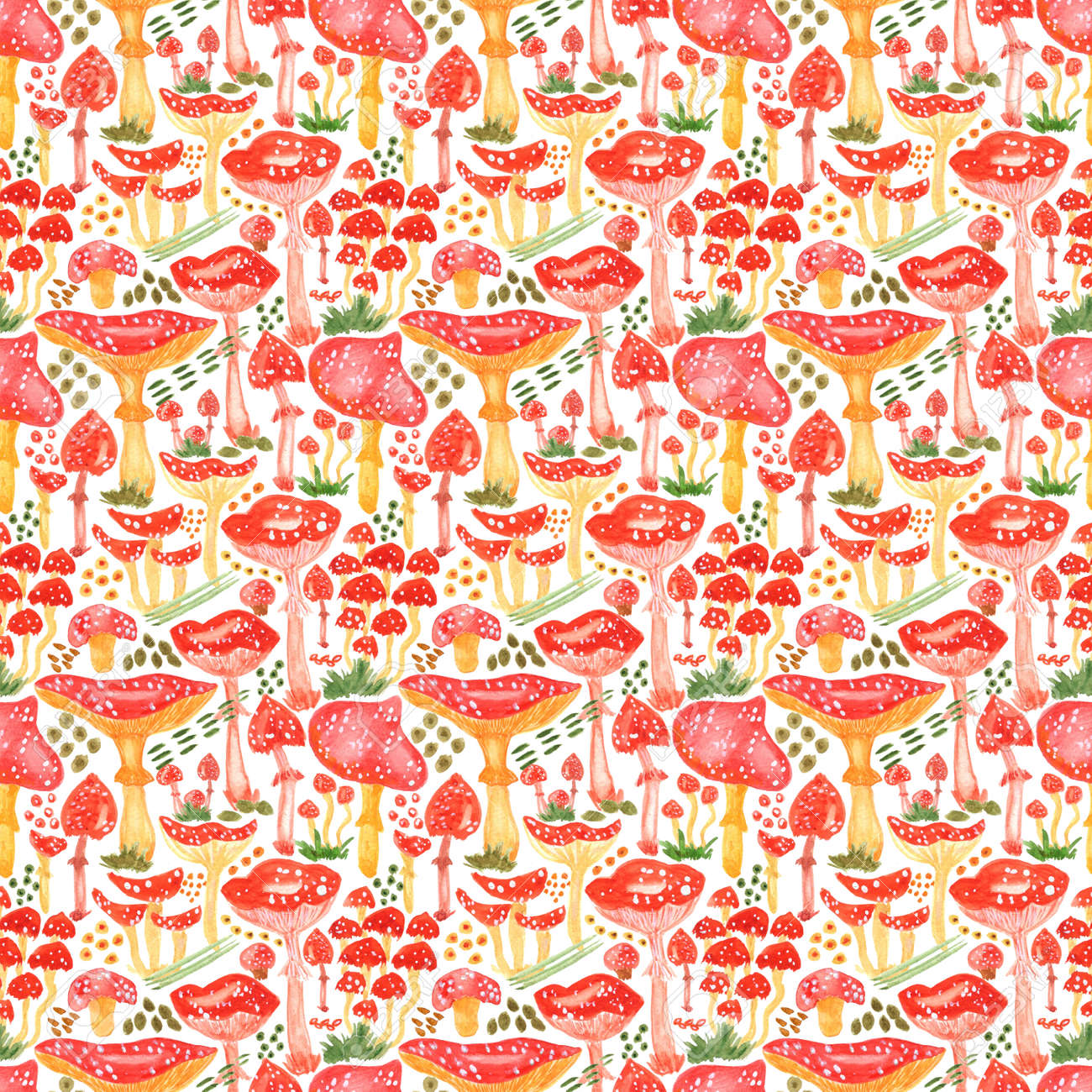 Colorful watercolor mushrooms seamless pattern. Hand Illustration for creating fabrics, wallpapers, gift wrapping paper, invitations, textile, scrapbooking. Isolated on white background. - 165387221