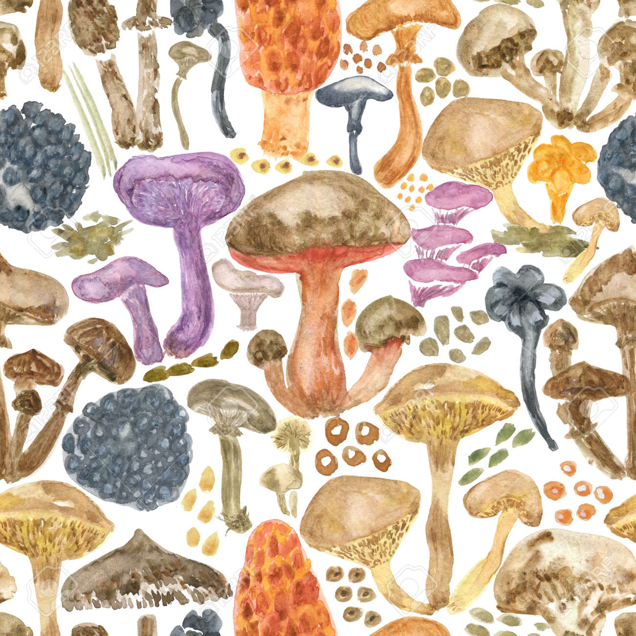 Colorful watercolor mushrooms seamless pattern. Hand Illustration for creating fabrics, wallpapers, gift wrapping paper, invitations, textile, scrapbooking. Isolated on white background. - 165387222