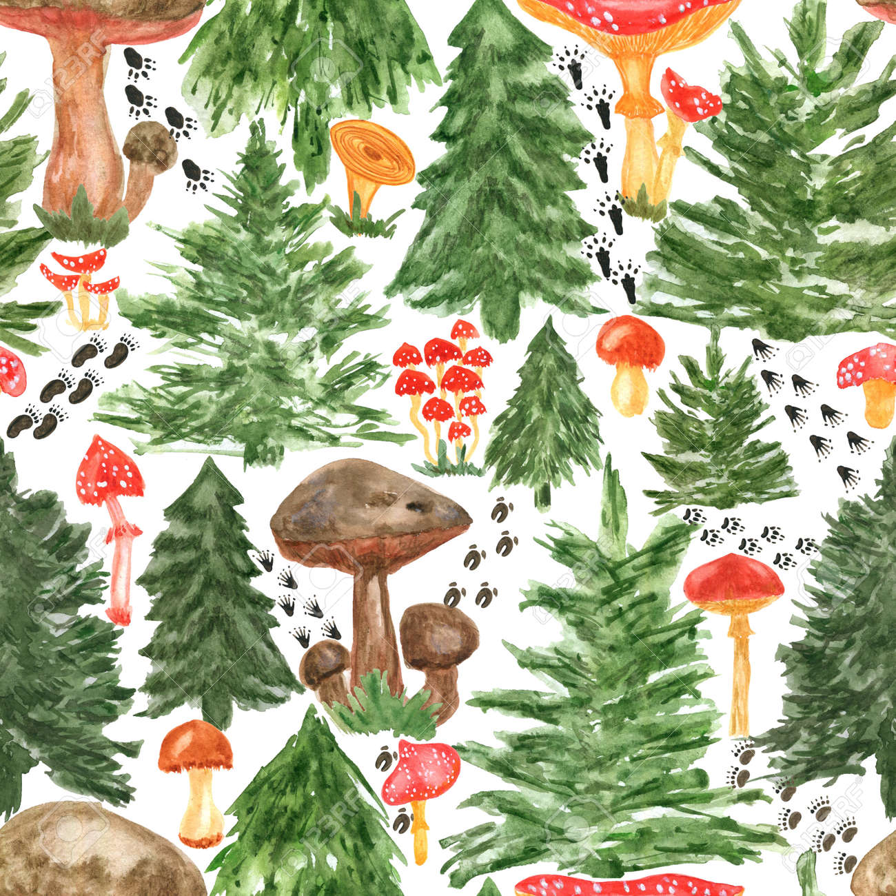 Colorful watercolor trees, animal footprints and mushrooms seamless pattern. Hand Illustration for creating fabrics, wallpapers, gift wrapping paper, invitations, textile, scrapbooking. - 165544106