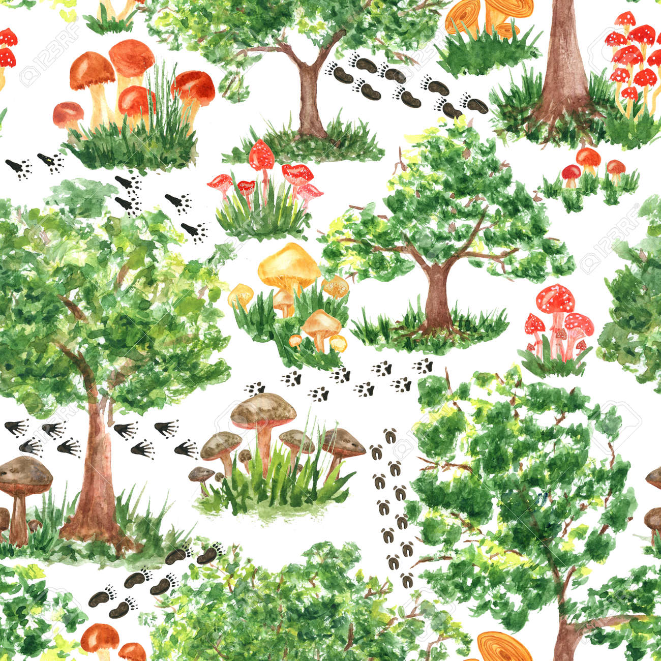 Colorful watercolor trees, animal footprints and mushrooms seamless pattern. Hand Illustration for creating fabrics, wallpapers, gift wrapping paper, invitations, textile, scrapbooking. - 165544109