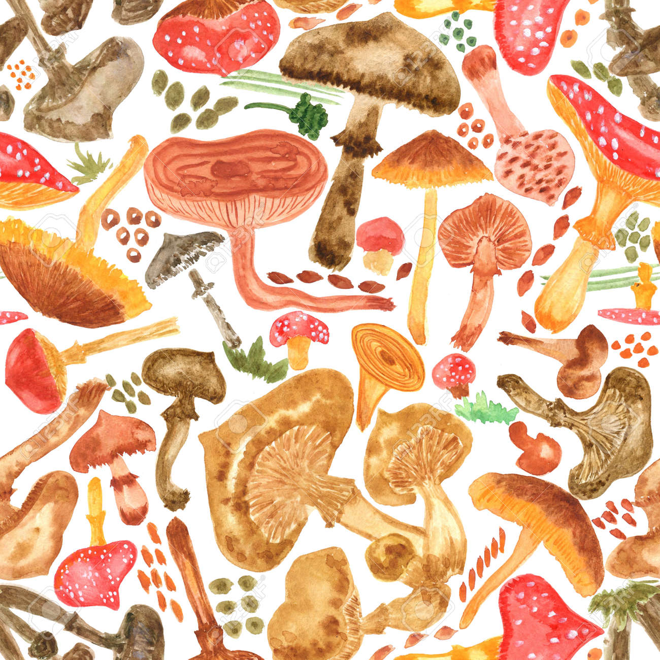 Seamless watercolor background with mushrooms. Pattern for creating fabrics, wallpapers, gift wrapping paper, invitations, textile, scrapbooking. Isolated on white background. - 165694566