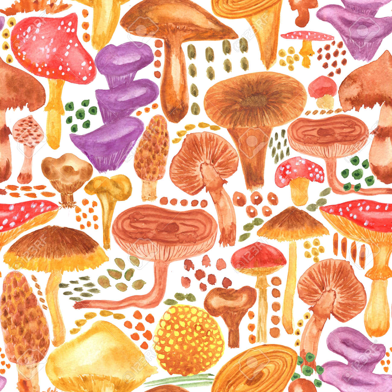 Colorful watercolor mushrooms seamless pattern. Hand Illustration for creating fabrics, wallpapers, gift wrapping paper, invitations, textile, scrapbooking. Isolated on white background. - 166064023