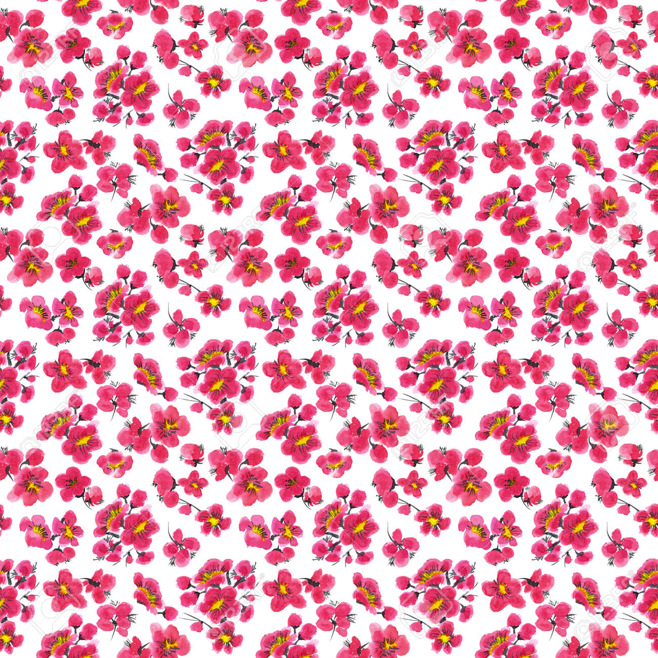 Seamless pattern of a sakura. Pink and red stylized flowers of plum mei and wild apricots. Watercolor and ink illustration in style sumi-e, u-sin. Oriental traditional painting. - 166064030