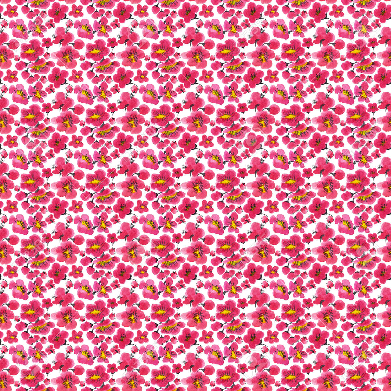 Seamless pattern of a sakura. Pink and red stylized flowers of plum mei and wild apricots. Watercolor and ink illustration in style sumi-e, u-sin. Oriental traditional painting. - 166653596