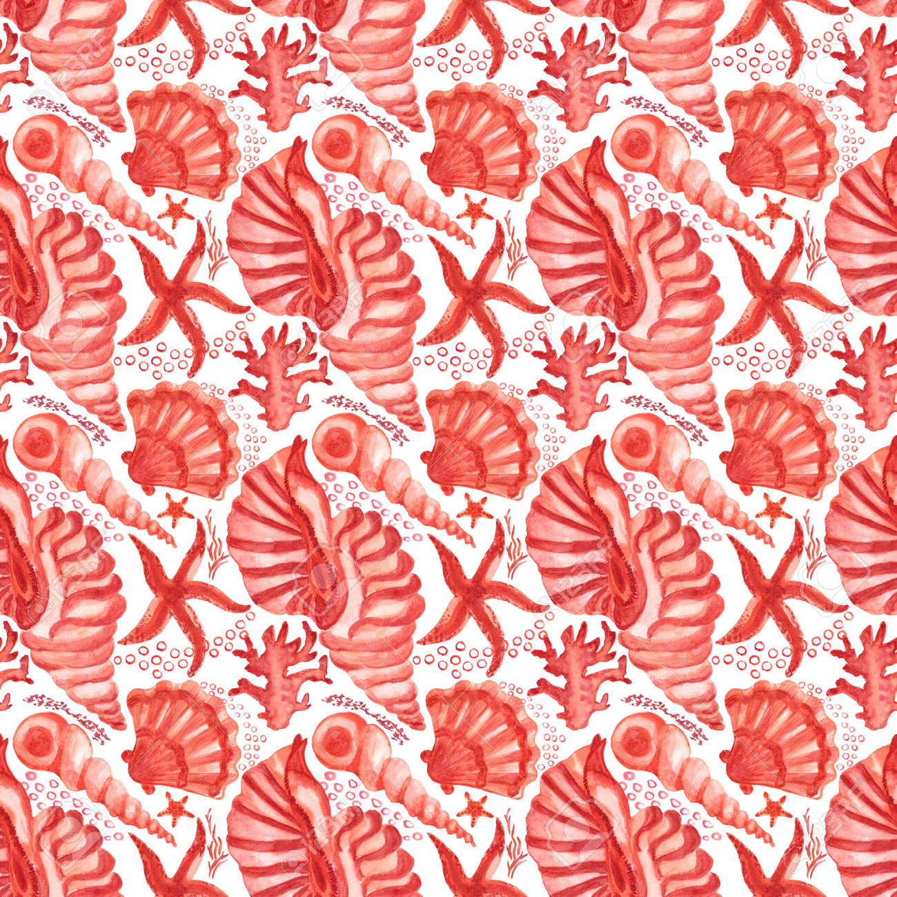 Watercolored seashells and starfishes seamless pattern. Illustration of shells and sea stars for for creating fabrics, textile, decoupage, wallpapers, print, gift wrapping paper, invitations, textile. - 166653598
