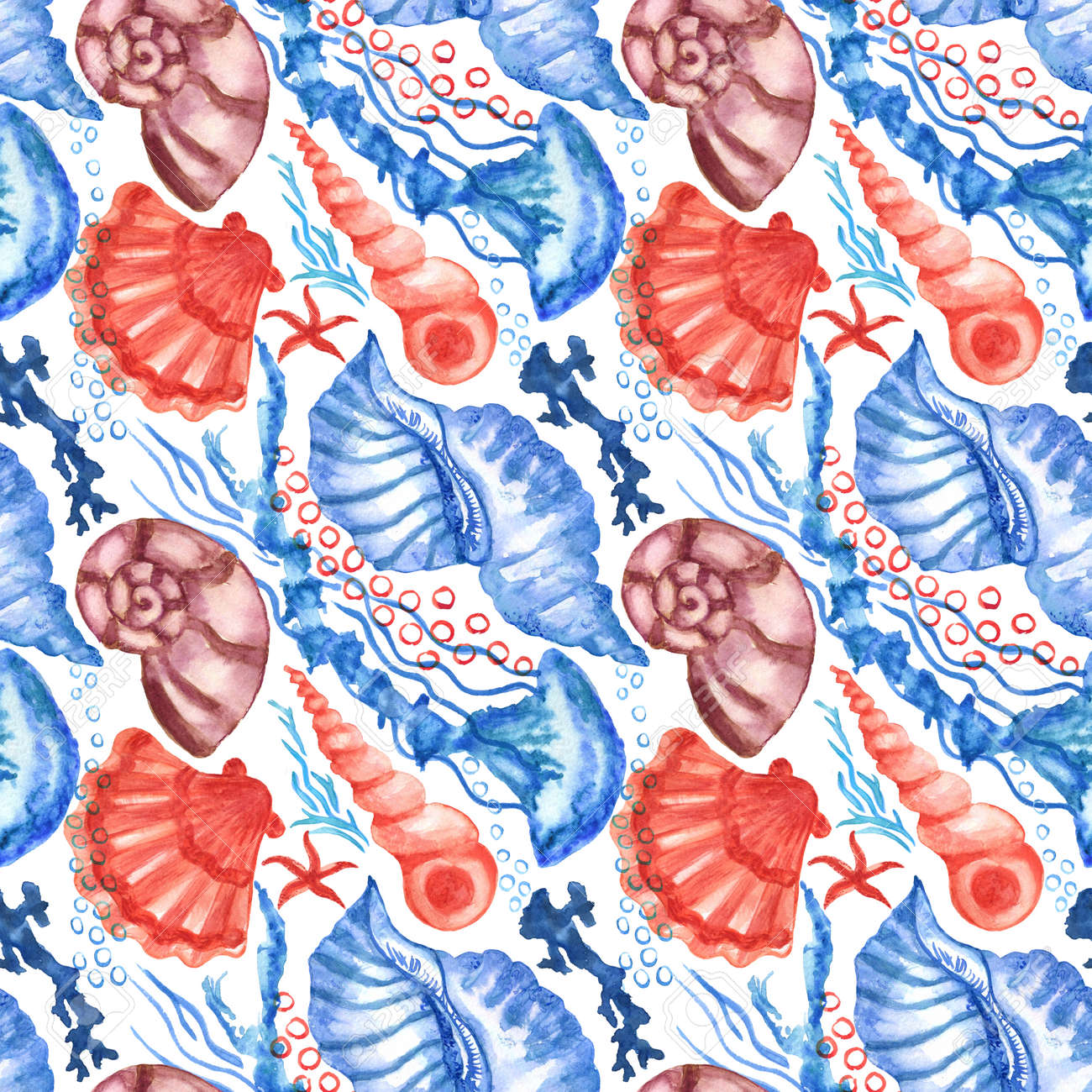 Watercolored seashells and starfishes seamless pattern. Illustration of shells and sea stars for for creating fabrics, textile, decoupage, wallpapers, print, gift wrapping paper, invitations, textile. - 166801058